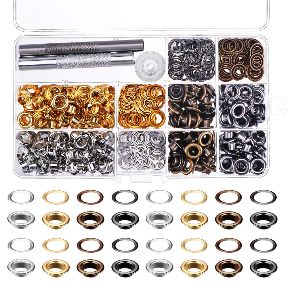 4 Colors Paxcoo 240 Sets 1//4 Inch Grommet Eyelets Kit with 3 Pieces Installation Tool Kit
