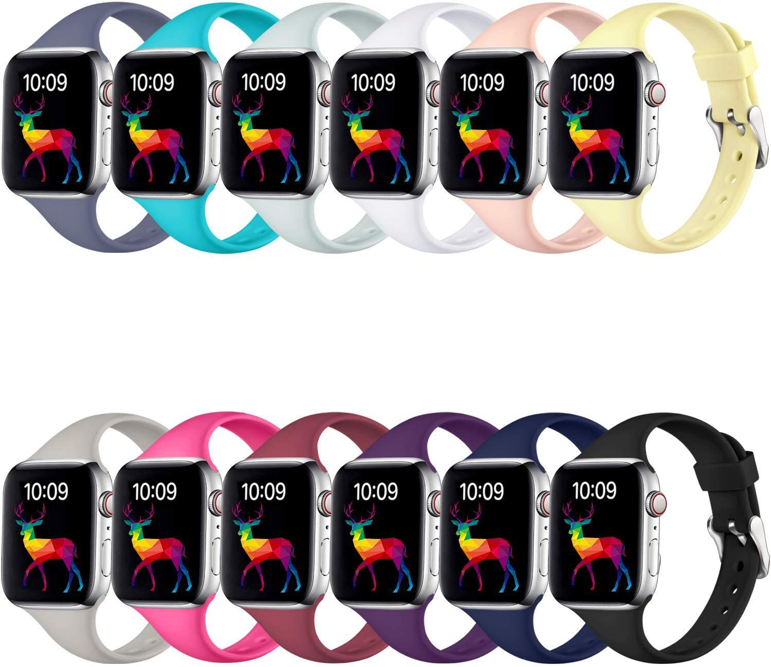 Laffav Slim Band Compatible with Apple Watch 40mm 38mm for Women Men, Soft Silicone Narrow Thin Sport Replacement Strap for iWatch SE & Series 6 & Series 5 4 3 2 1 (12 Pack, 38mm/40mm M/L)