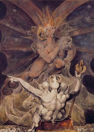 Póster de la reproducción de tarjetas de arte brillante de William Blake c1805 de 250 g/m², A3, demonología, brujería, oculto, magia, el número de la bestia es 666, detalle por William Blake