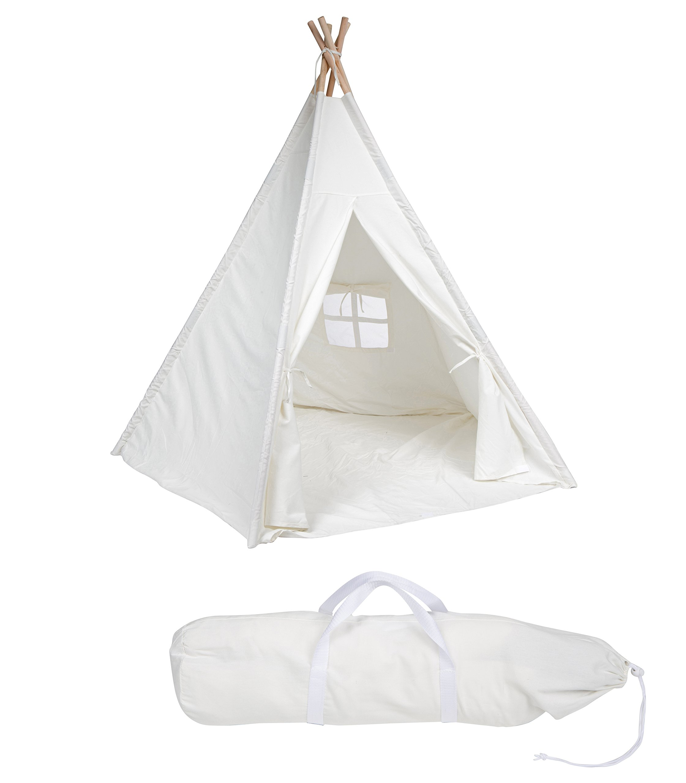 6'  Giant Teepee Play House of Pine Wood with Carry Case by Trademark Innovations (White)