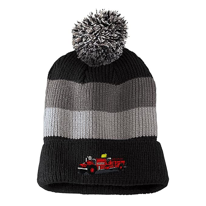 49273315d5d Antique Fire Truck Embroidered Unisex Adult Acrylic Vintage Striped  Removable Pom Pom Beanie Winter Hat -