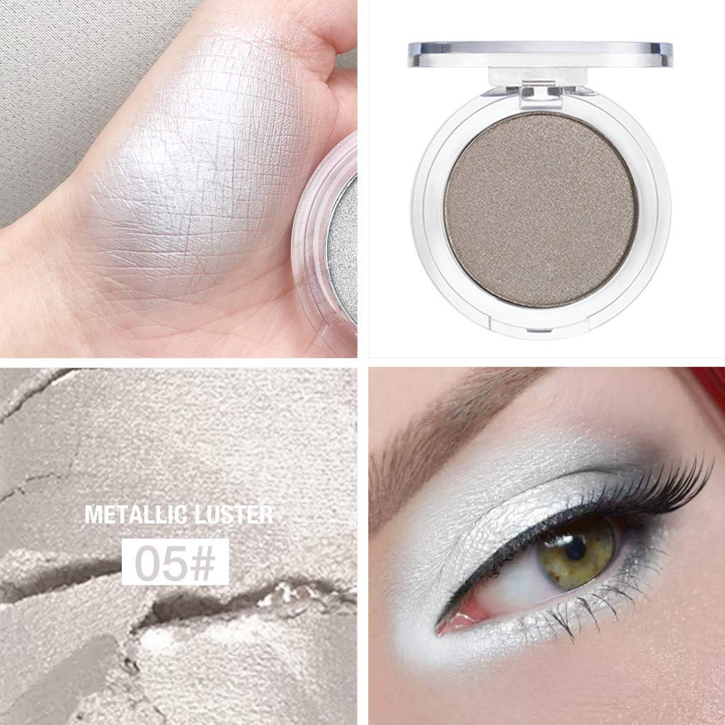 Staron Pressed Glitter Highlight Diamond Eyes Makeup Single Metallic Highly Pigmented and Long-Lasting Mineral Shimmer Makeup Pallet Eye Shadows Flash Color Cosmetic (E)