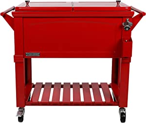 Permasteel PS-203F1-RED-AM 80 Quart Portable Rolling Patio Cooler, Red
