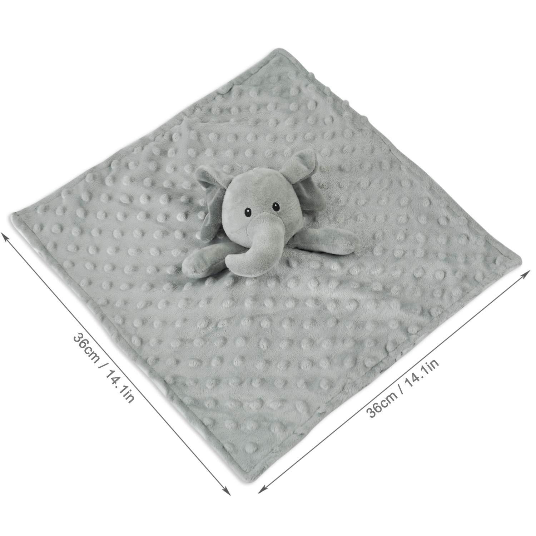 "Boritar Elephant Baby Security Blanket with Lovely Animal Pattern Backing 14"""