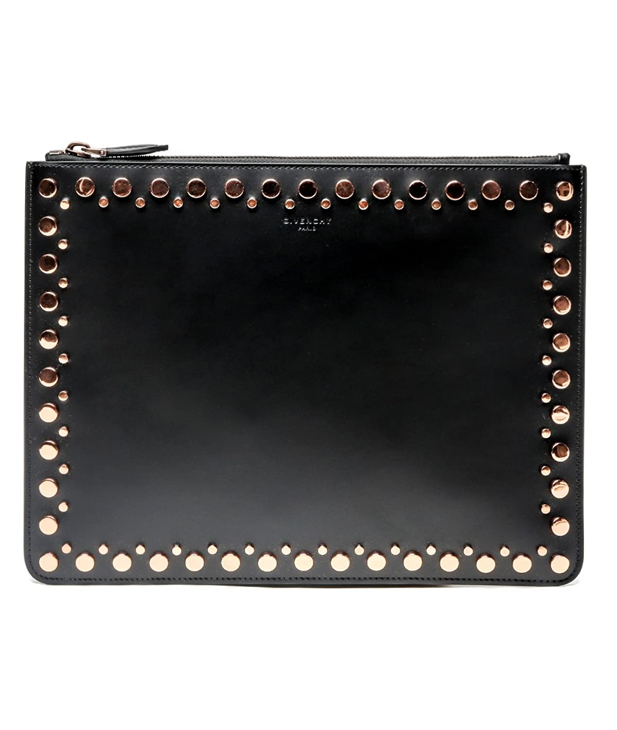 Wiberlux Givenchy Women's Studded Zip-Top Real Leather Clutch One Size Black