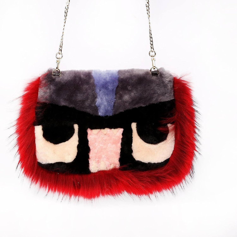 URSFUR Women's Lamb Fur Shoulder Handbag Fur Trim Monster Tote Clutch Purse Bag