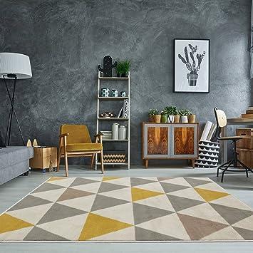 U0026quot;Milanu0026quot; Moderner Teppich Mit Harlekin Dreiecksmuster Für Das  Wohnzimmer In Ocker ,