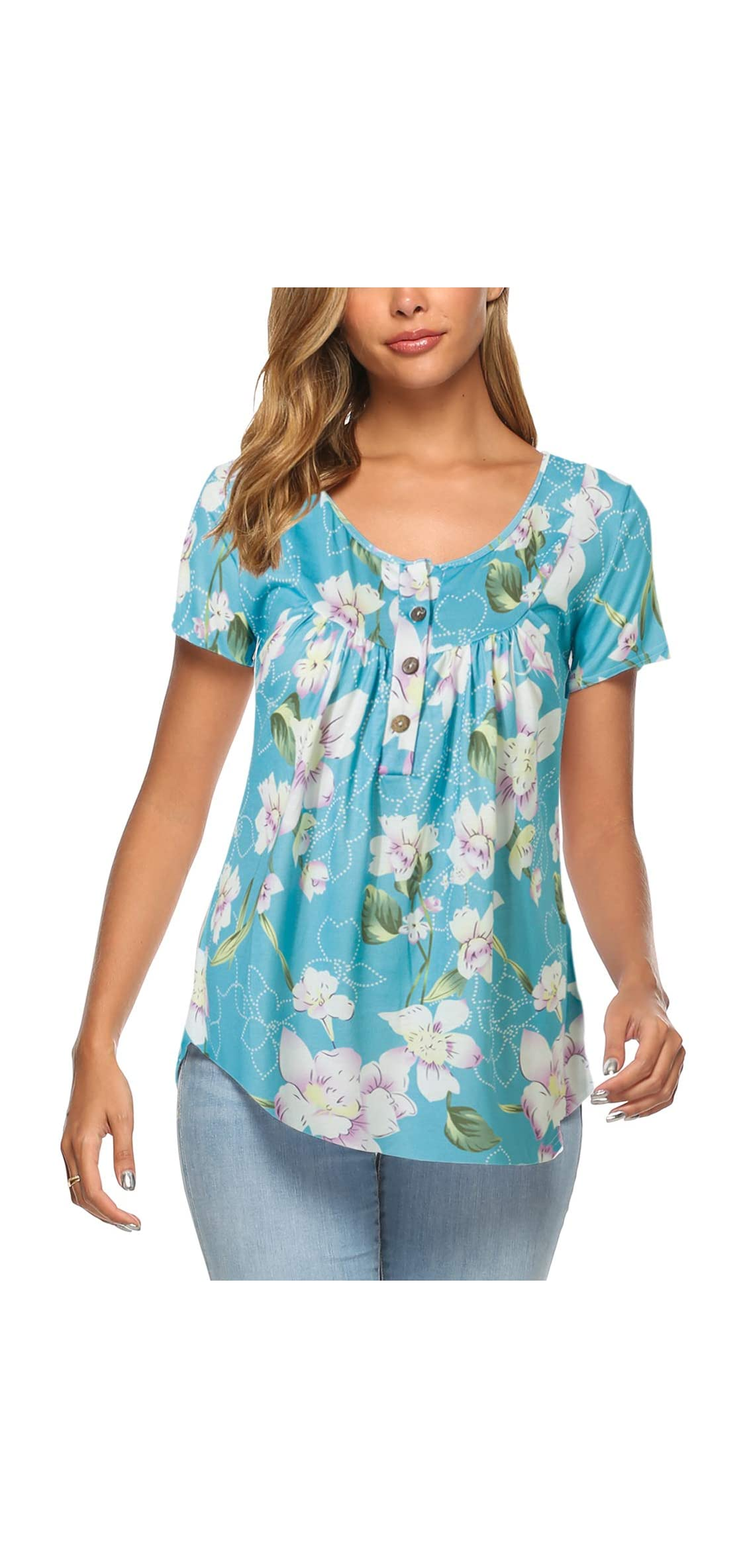 Womens Short Sleeve Floral Summer Tee T Shirts Button Up Tunic