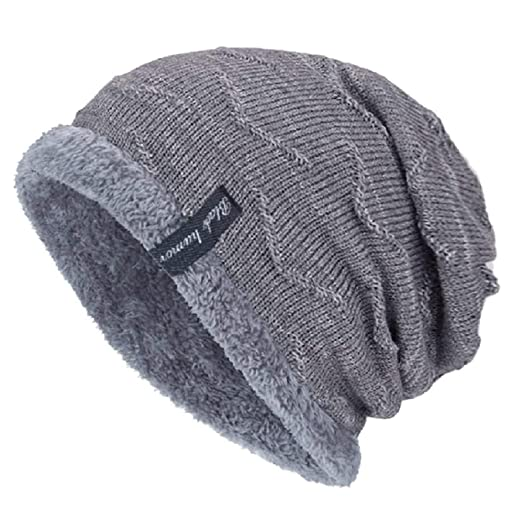 1b48183ff3f Image Unavailable. Image not available for. Color  YSense Mens Winter Warm Slouchy  Beanie Oversized Baggy Hat Fleece Lined Knit ...