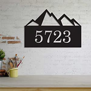 godblessign Mountain Silhouette Metal Sign Custom Address Metal Wall Sign Art HangingDecoration Rustic Vintage Farmhouse Decor for Indoor Outdoor Housewarming Gift Birthdays Gift.