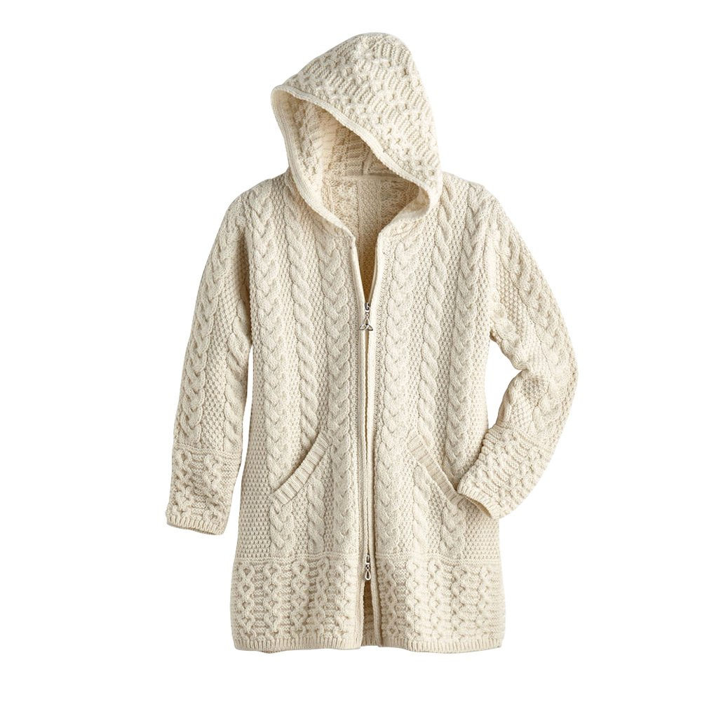 West End Knitwear Women's Brigid Hooded Aran Cardigan - Natural - 2X by West End Knitwear (Image #1)