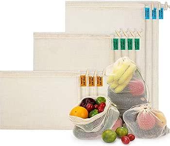 Bolsas de Malla Reutilizables, Bolsas de Comestibles 10 Piezas Bolsas de Algodón Orgánico para Frutas y Vegetales para Almacenar Comida, IR de Compras y Guardar Juguetes: Amazon.es: Hogar