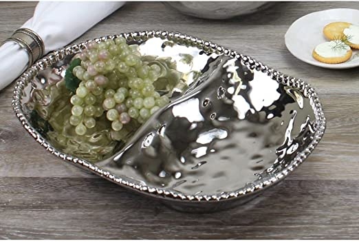 White and Silver Pampa Bay Salerno 17-inch Porcelain Chip and Dip Bowl with Titanium-Plated Border