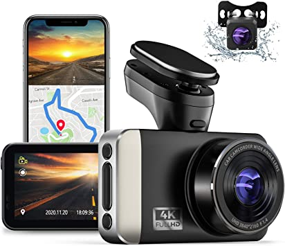Amazon Com Jomise 4k Ultra Hd Dual Dash Cam With Built In Wi Fi Gps 2k 1080p Front And Rear Dashcams With 3 Ips Screen Hud Speed Displayed Sony Starvis Sensor G Sensor Parking Monitor Loop