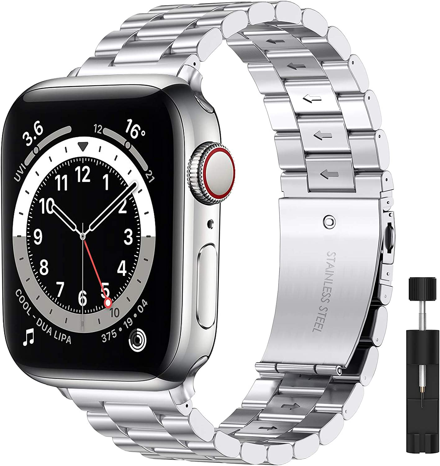 Liwin Metal Band Compatible with Apple Watch Series SE/6/5/4/3/2/1, Series 6 Band for Men Women, Replacement Stainless Steel Business Bracelet Wrist Strap Accessory for iWatch Band (38mm/40mm, Silver)