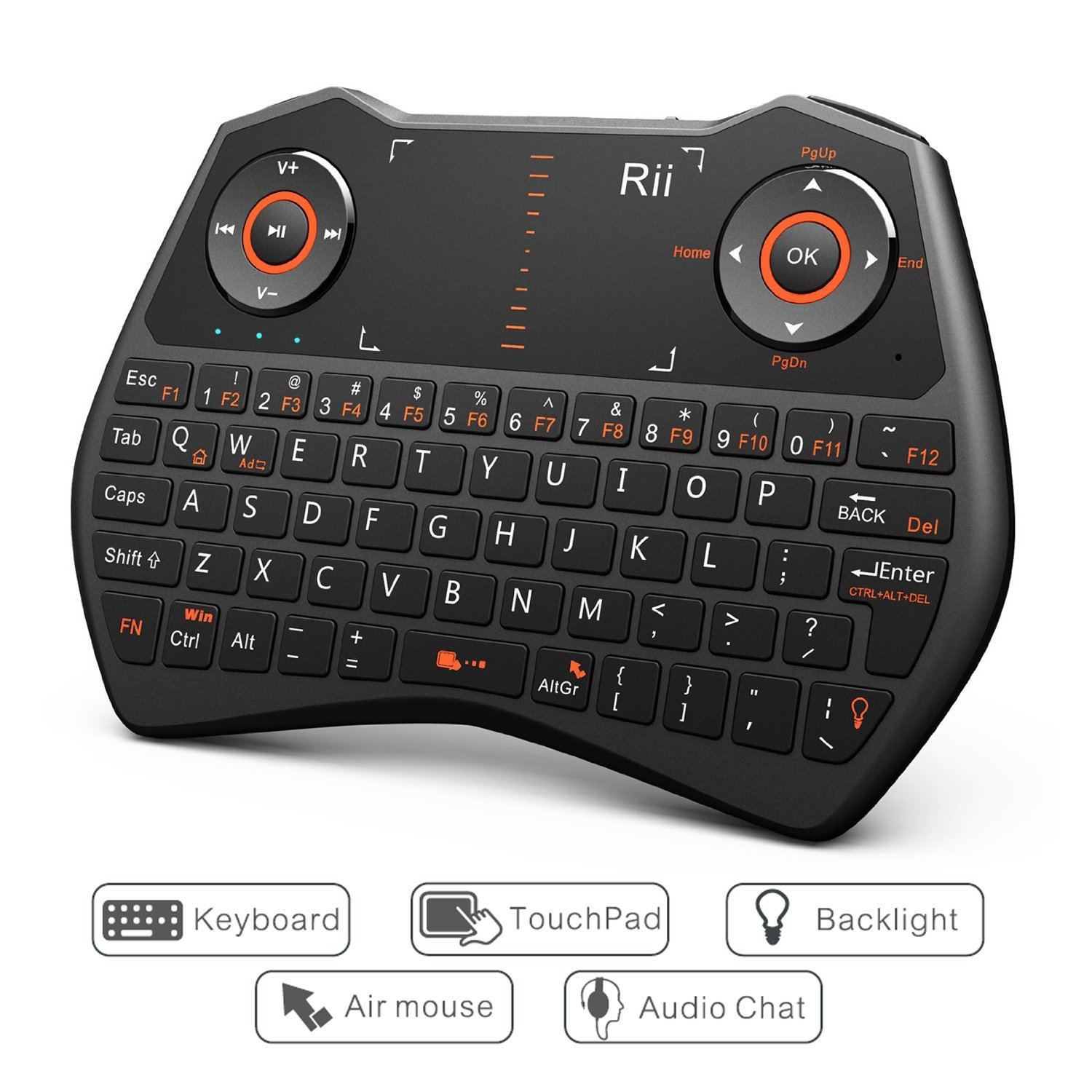 Rii i28 5 in 1 Wireless Mini Keyboard/Touchpad /Flying Mouse/Earphone  Jack/Backlit Work for PC,Raspberry Pi 2 3, Android TV Box,XBMC,Windows 7 8  10