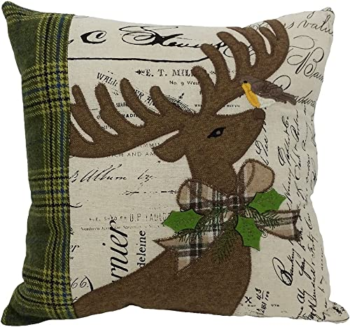 Xia Home Fashions Reindeer with Applique Suede Collection Christmas Decorative Pillow Polyester Filled, 14 by 14-Inch