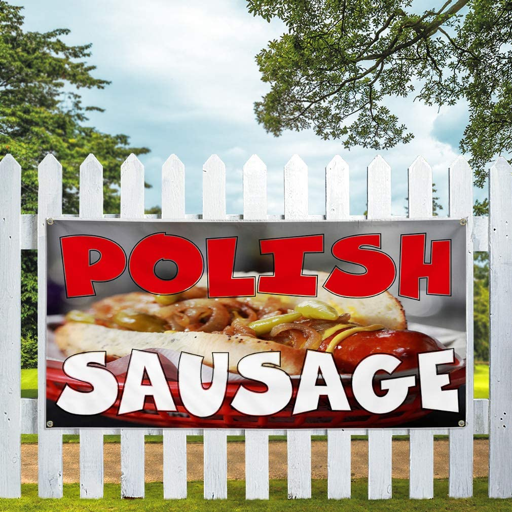 24inx60in Multiple Sizes Available Vinyl Banner Sign Polish Sausage Red White Brown Outdoor Marketing Advertising Red 4 Grommets Set of 3