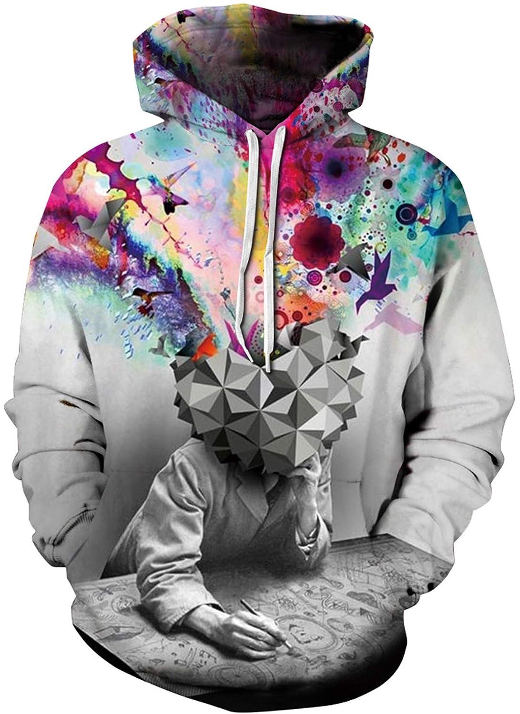 KINHUYO 3D Hoodies for Men Print Pullover Boys Sweatshirt Jackets Unisex Womens Jumper