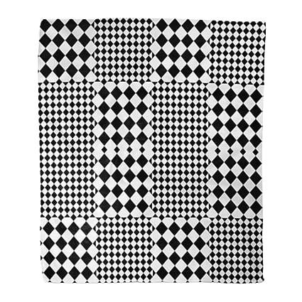 Amazon.com: Golee Throw Blanket Bauhaus Black White Squares ...