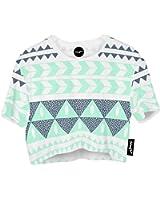 Fringoo Girls Women's Cropped baggy oversize T-shirt Festival Summer Crop Top Party Fashion Jersey Emoji