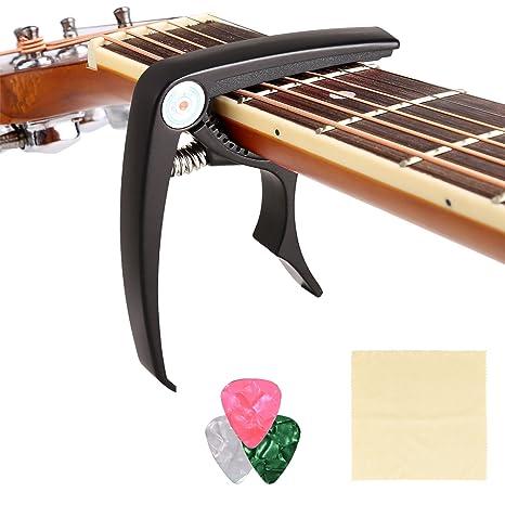 COOCHEER aleación de zinc guitarra Capo Cejilla Pin Extractor, 3 púas de guitarra y libre