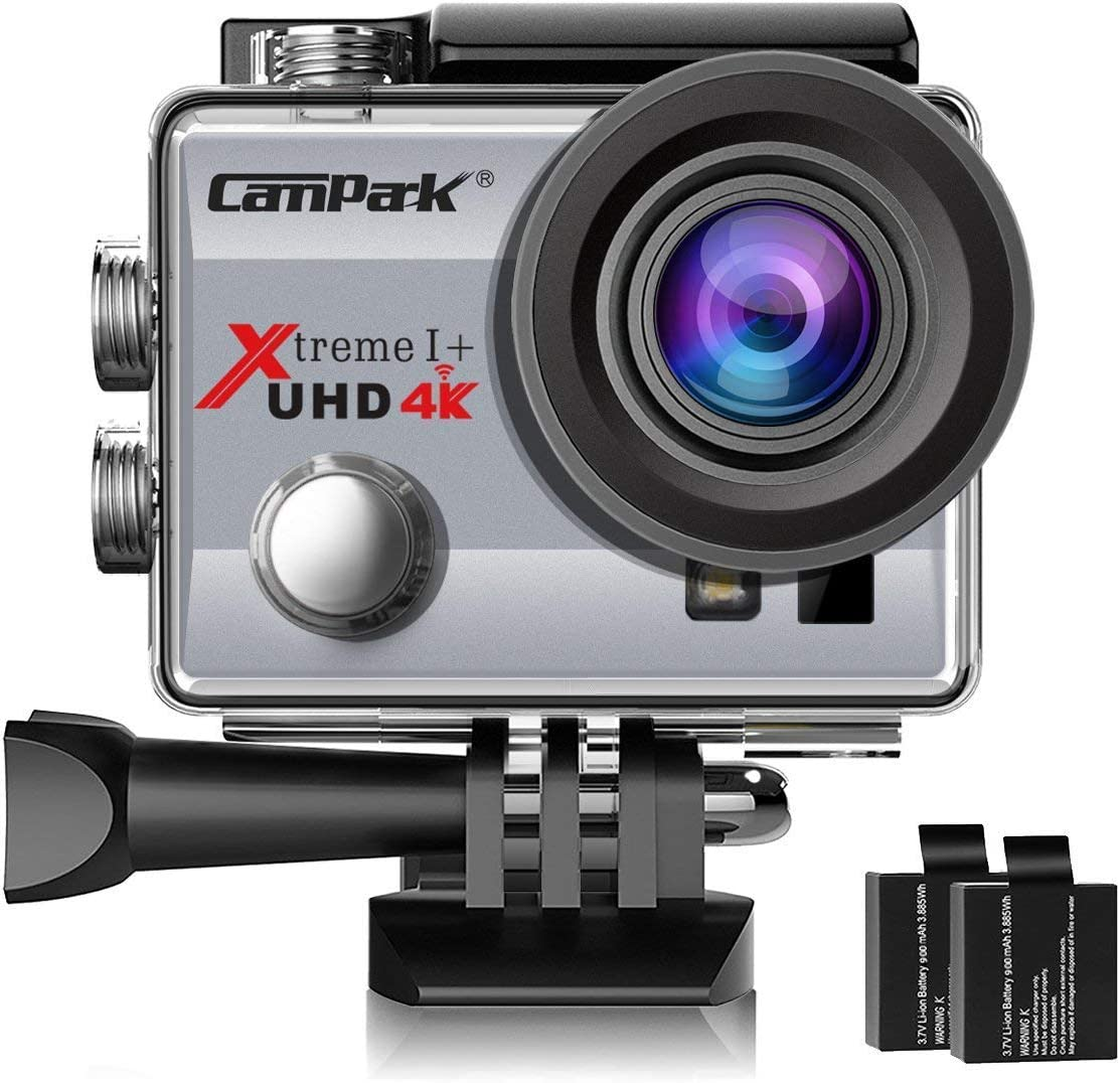 Campark ACT74 Action Camera 4K 30fps WiFi Ultra HD Waterproof Sports Action Cam,Free Mounting Accessories 2 Rechargeable Batteries Bikes Motorbike Snorkeling Silver