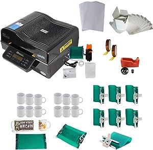 3D Vacuum Heat Press Machine 11oz 15oz White Mugs Sublimation Transfer A4 Sublimation Paper Tape Rubber Clamps Printing KIT