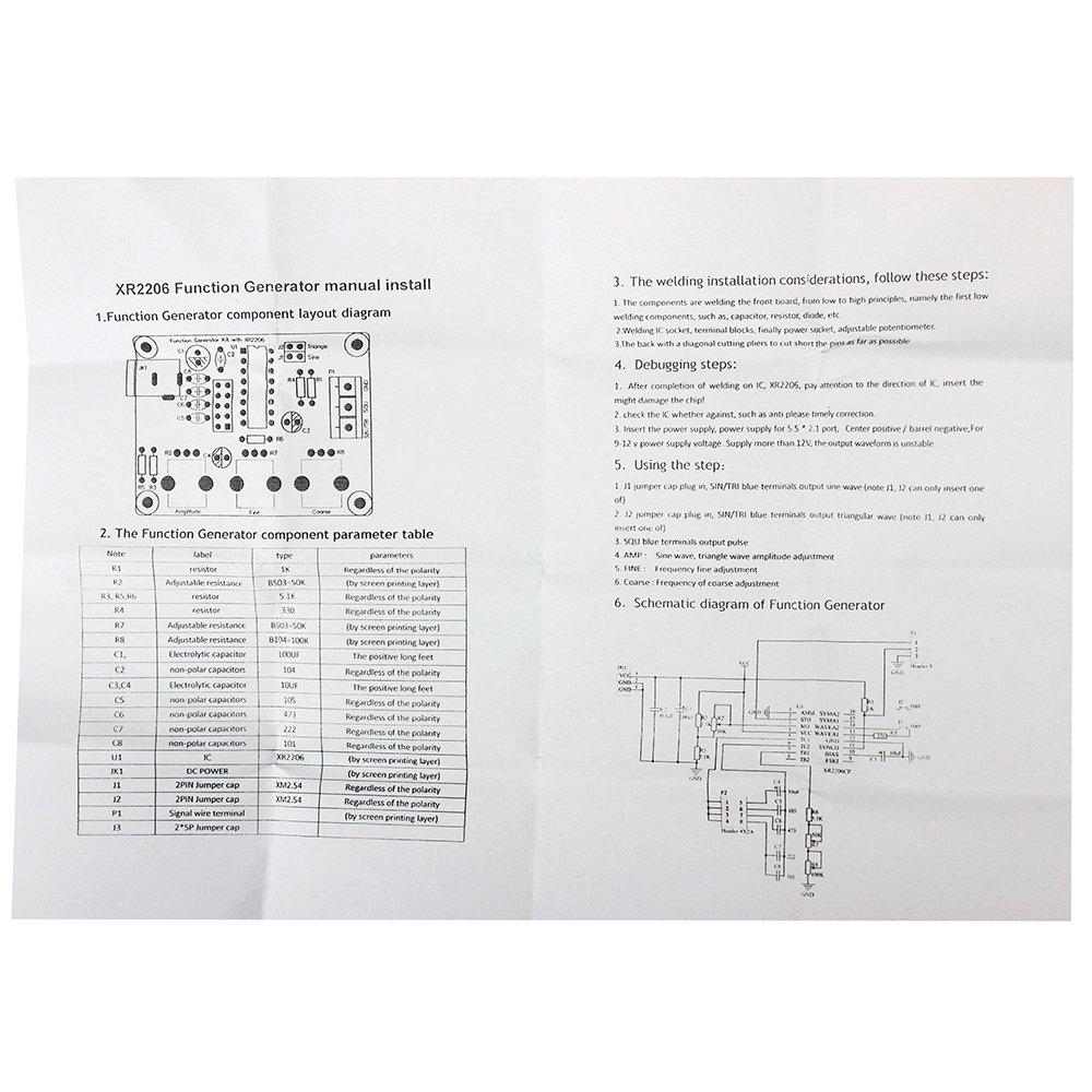 Superiparts Xr2206 Diy Kit Sine Triangle Square Wave 1hz Circuit Diagram 1mhz Dds Function Signal Generator Industrial Scientific
