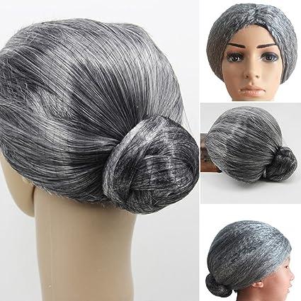 Buy Grey Wig Old Lady Women Grandma Wig Stage Props  d3efb75e5e
