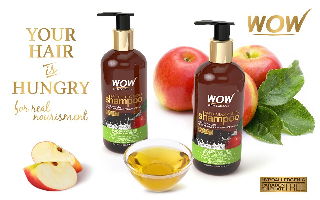 WOW Apple Cider Vinegar No Parabens & Sulphate Shampoo - Best Ayurvedic shampoo