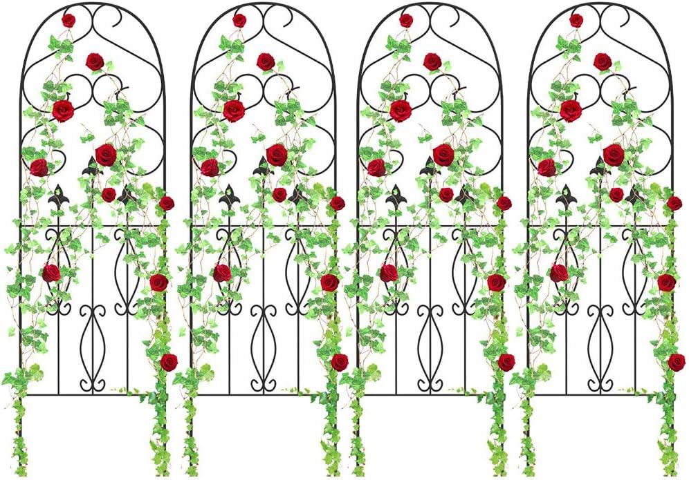 "4 Pack Garden Trellis for Climbing Plants 60"" x 18"" Rustproof Sturdy Black Iron Trellis for Potted Plants Support Lattice Metal Trellises for Climbing Roses Vines Flower Vegetables Cucumber Clematis"