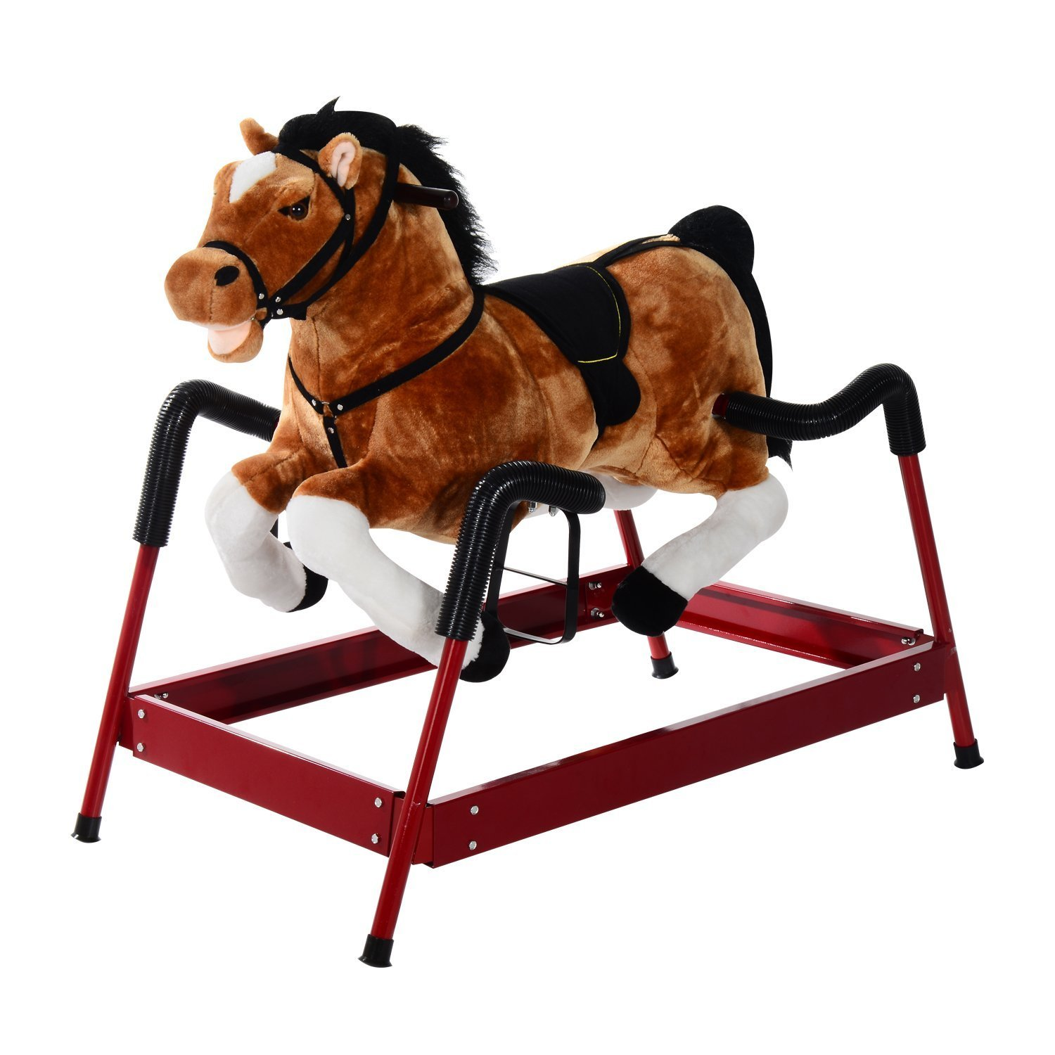 Qaba Kids Plush Toy Spring Horse Bouncing Rocker with Realistic Sounds