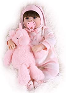 "TCBunny 22"" Reborn Newborn Baby Doll Realistic Lifelike Handmade Weighted Baby for Ages 3+, Soft Silicone Vinyl"