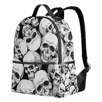 7583b03ac918 Skull Black White Backpack for Women Teen Girls Purse Fashion Bag Bookbag  Children Travel College Casual