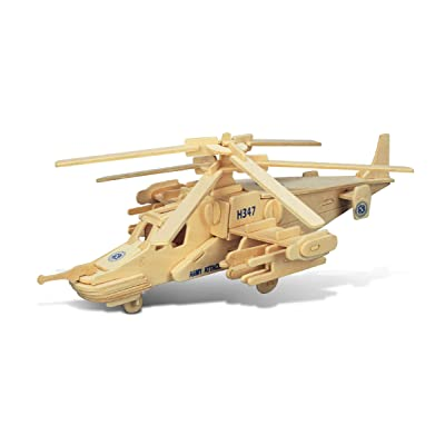 Puzzled Black Shark Helicopter Wooden 3D Puzzle 84 Interlocking Pieces Aircraft Woodcraft Construction Kit Easy to Build Chopper Gift w/ Instructions Inside Assembly Size 12''Lx10.5''Wx4.5''H: Toys & Games