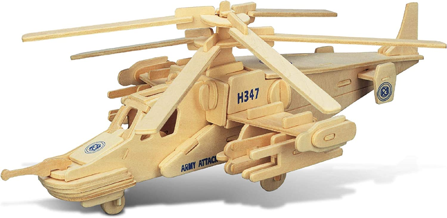 Puzzled Black Shark Helicopter Wooden 3D Puzzle 84 Interlocking Pieces Aircraft Woodcraft Construction Kit Easy to Build Chopper Gift w/ Instructions Inside Assembly Size 12''Lx10.5''Wx4.5''H