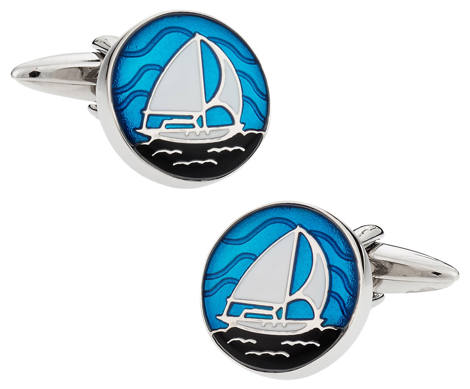 Cuff-Daddy Nautical Blue Enamel Sailboat Cufflinks with Presentation Box
