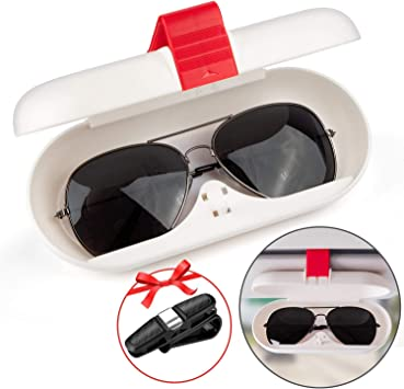 White AutoChoice Car Sun Visor Glasses Case Sun Visor Storage Box with Push-Type Sealing and Snap Design Fit for Most Models