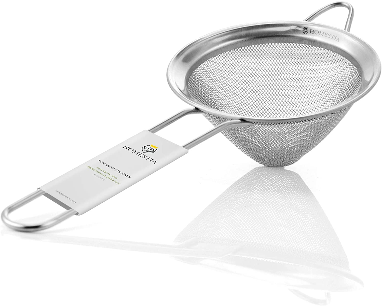 Fine Mesh Sieve Strainer Stainless Steel Cocktail Strainer Food Strainers Tea Strainer Coffee Strainer with Long Handle for Double Straining Utensil 3.3 inch by Homestia