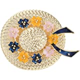 WJXBDN Hat Brooch Fashion Gold Color Straw Hat Brooches for Women Small Enamel Flower Design Jewelry 2 Colors Choose