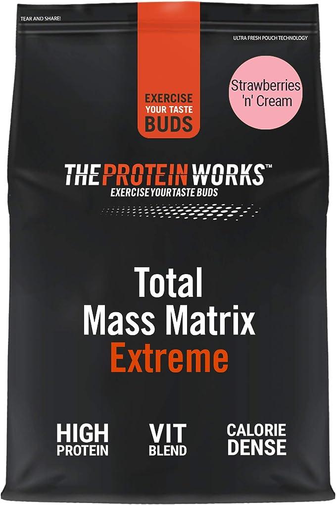 THE PROTEIN WORKS Total Mass Matrix Extreme Protein Powder, Masa Muscular, Alto en Calorías Para Ganar Masa, con Glutamina, Creatina y Vitaminas, ...