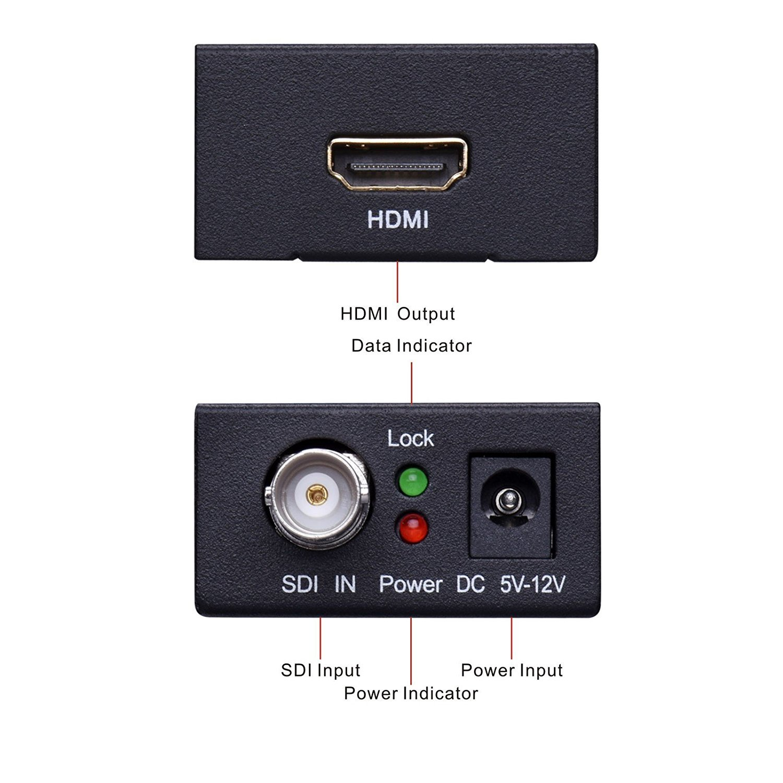 Mini SDI to HDMI converter, Lollipop SDI HD-SDI to HDMI Mini Adapter Converter, 1080p for Driving HDMI Monitors