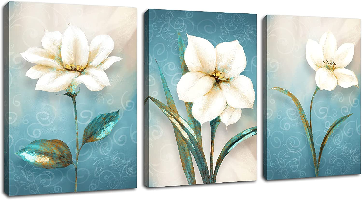 Bathroom Wall Decor Canvas Wall Art 3 Panel Oil Painting Picture for Living Room Wall Decor Painting Wood Frame Stretched Easy To Hang 12x16Inchesx3Pcs
