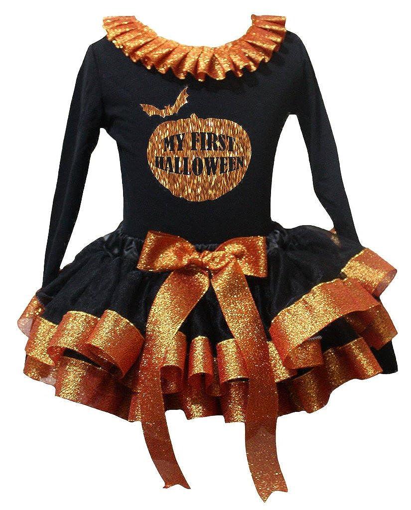 Petitebella My First Halloween Black L//s Shirt Orange Black Petal Skirt Nb-8y