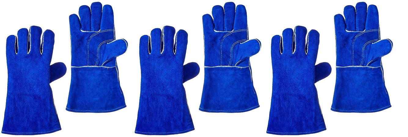 US Forge 400 Welding Gloves Lined Leather, Blue - 14'' (3 PACK)