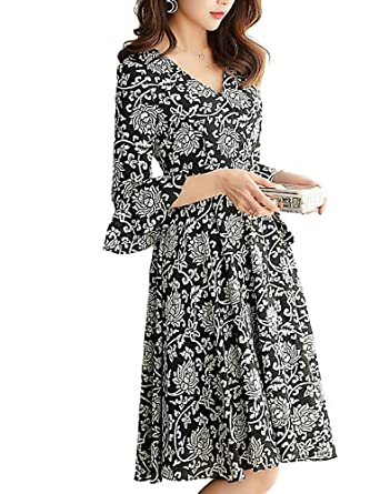 a2cd373d790af BolanVerl レディース ファッション シフォン ワンピース おしゃれ 花 柄 ドレス vネック 七分袖 フレアスリーブ