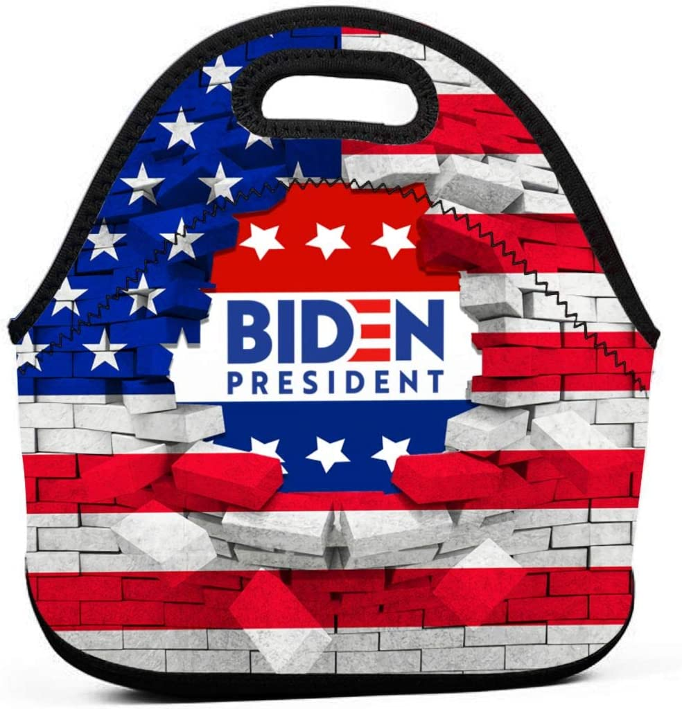 Kdshjdgwes56 Biden for President 2020 Keep America Great Neoprene Lunch Bag Tote Handbag Lunchbox Food Container Gourmet Tote Cooler Warm Pouch for School Work Office