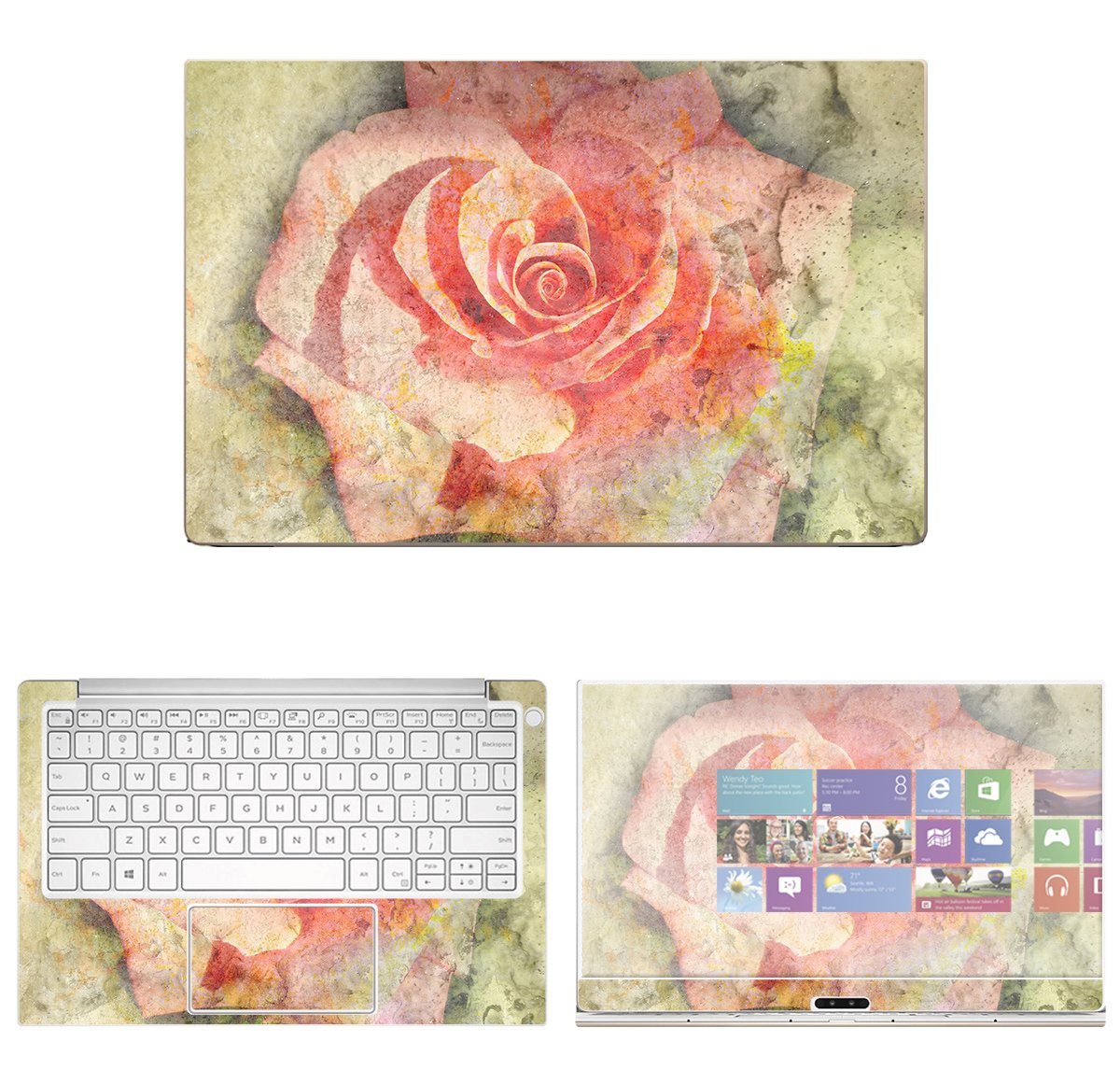 decalrus - Protective Decal Rose Skin Sticker for Dell XPS 13 9370 (13'' Screen) case Cover wrap DExps13_9370-113