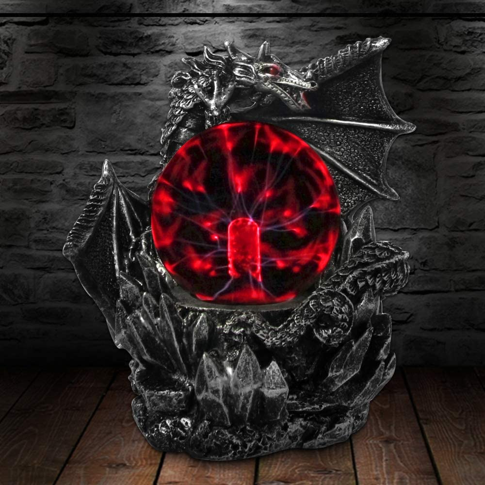 Evil Dragon ANQIA Plasma Ball Lamp Touch Sensitive,Party Magical Electrostatic Red Color Crystal Ball for Christmas